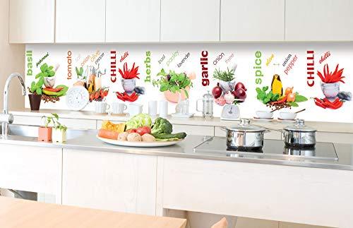 DIMEX LINE Küchenrückwand Folie selbstklebend GEWÜRZ 350 x 60 cm | Klebefolie - Dekofolie - Spritzschutz für Küche | Premium QUALITÄT