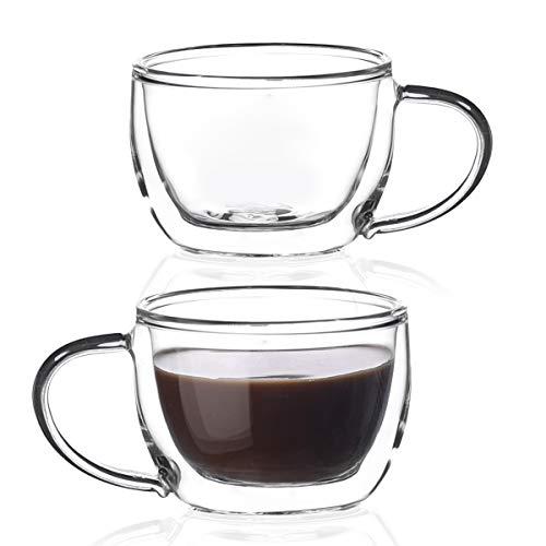 Amisglass Espressotassen Kaffee 2er Set doppelwandige Thermo-Espressotassen mit Henkel 100 ml