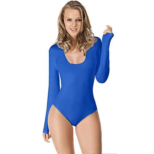Maillot de Danza Ballet Gimnasia Leotardo Body Clásico Elástico para Mujer de Manga Larga Cuello Redondo (M, Azul)