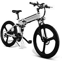 Bicicleta eléctrica Ultrey de 26 pulgadas, plegable, bicicleta de montaña con 350 W, 48 V, 10,4 Ah, 480 Wh, con amortiguación de alta resistencia y 21 marchas Shimano, color blanco