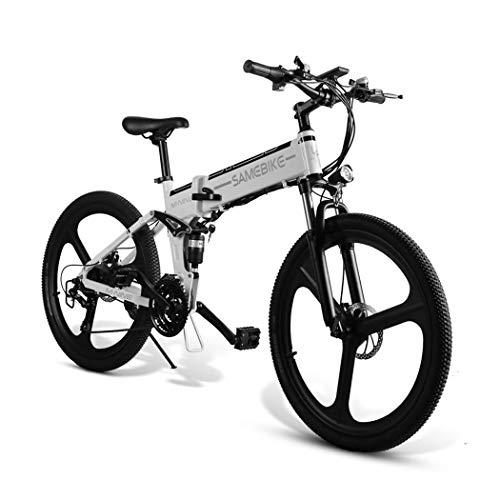 Ultrey - Bicicleta BBT eléctrica plegable de 26 pulgadas, bicicleta de montaña con batería de 350 W, 48 V, 10,4 Ah, 480 Wh, amortiguación altamente resistente y 21 marchas Shimano, color blanco