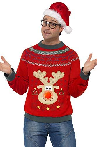 Smiffys Pull de Noël, Rouge, avec écussons brodés et LED