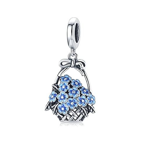 LISHOU 925 Canasta De Flores De Plata Esterlina, Abalorio De Esmalte Azul para Mujer, Pulsera Original, Colgante, Fabricación De Joyas DIY