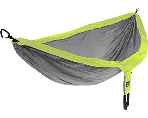 ENO Doublenest Hammock Grey Neon Soft Breathable Fabric 70 Denier High Tenacity Nylon Taffeta Fast Dry Heavy Duty Triple Stitched Compression Stuffsack Aluminium Wiregate Carabiners Weight 539 g
