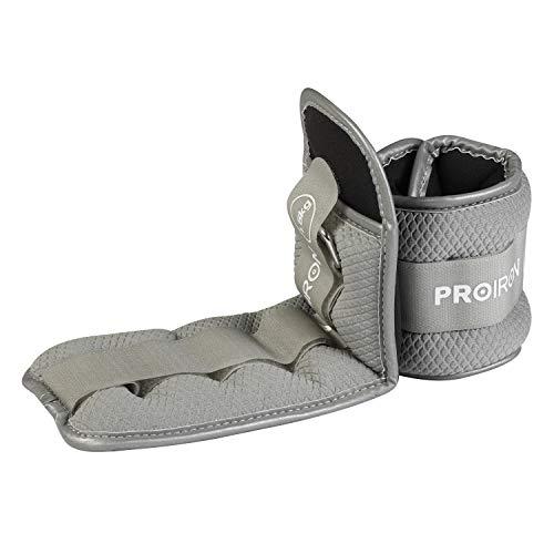 PROIRON Lastres Tobillos Pesas para Piernas Tobilleras 1.5kg×2 (Gris)con Peso con Diseño Reflectante y Correa Ajustable Pesas Tobillos Pesas para Tobillos
