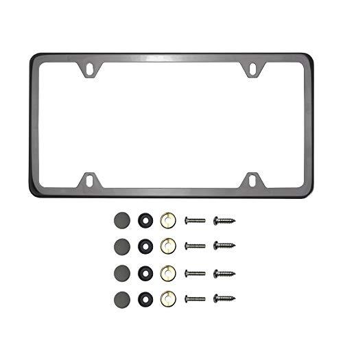 KA Depot Four Hole Slim Version Black Smoke Titaninum Gun Metal Chrome License Plate Frame T304 Stainless Steel + Metal Screw Caps