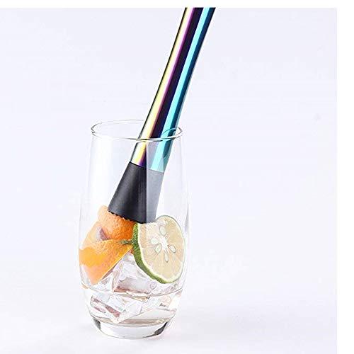 Xkfgcm Cocktailstößel Barstößel für Große Gläser Cocktail-Stößel aus Edelstahl Zerstößt Limetteneiswürfel Dank Rauer Unterseite Für Eisbrecherzubehör 2 Weinstößel Rutschfesten - 3