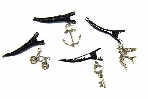 Miniblings Schwalbe Fahrrad Schlüssel Anker 4er Set Haarspangen silb. - Handmade Modeschmuck I Haarschmuck Haarclips Haarklammern