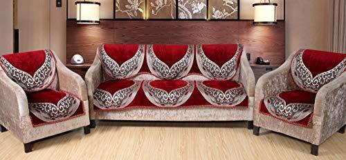 Multitex Velvet Designer Sofa Cover for Living Room (5 Seater) 80% Velvet 20% Polyester