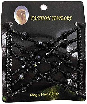 Double Peigne à Cheveux Magique Perles Élasticité Barrette Élastique Clips Neuf