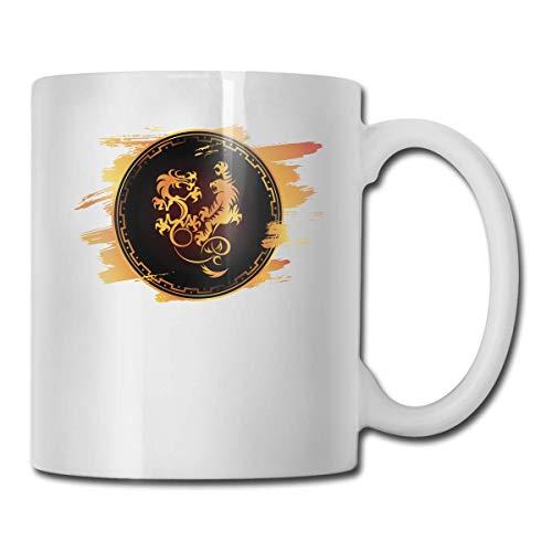 Dragon Tiger Funny Gifts Taza de café con taza de café/té/cacao-Taza de café única