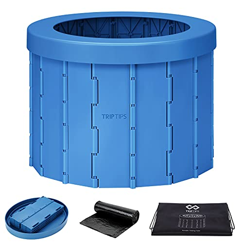TRIPTIPS Portable Toilet for Camping Travel Toilet Camping Toilet Portable Potty for Adults, Bucket Toilet, Waterproof Portable Folding Toilet for Car/Boat/Hiking/Long Trips (Blue