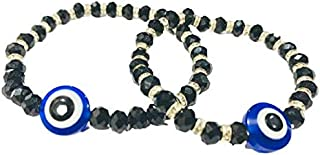 The Bling Stores Beautiful Gift for your Husband/Wife Combo Stretchable Evil Eye Bracelets for Festival & Special for Karv...