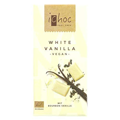 Ichoc Vivani Organic Chocolate Blanco Vainilla 80g   Sin lactosa   vegano (Pack de 4)