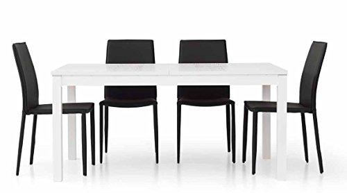 Legno&Design Table rectangulaire blanche frêne avec 2 rallonges au centre de 43 cm
