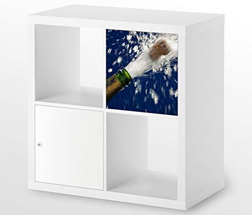 Möbelaufkleber für Ikea KALLAX / 1x Türelement Sekt Flasche Champagner Sylvester Kat20 Korken Fest Aufkleber Möbelfolie sticker (Ohne Möbel) Folie 25D254