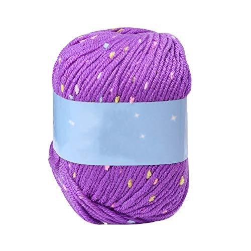 dljztrade Gebreide wolgaren Soft Durable Dots Design, kleding sjaal hoed haken deken handschoenen trui geweven doe-het-zelf materiaal lila