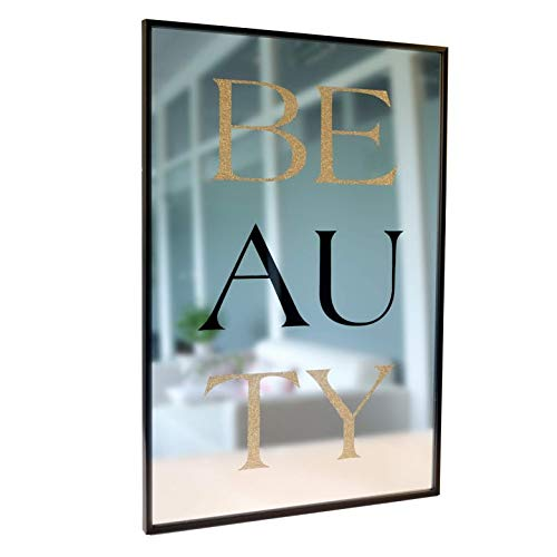 K&L Wall Art Spieglein op de muur - Beauty spiegel - met tekst in zwart en goud glitter - 40x60 cm