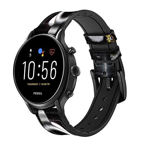 Innovedesire Smile Bullet Gun Smart Watch Armband aus Leder für Fossil Womens Gen 5E, Womens Gen 4, Hybrid Smartwatch HR Charter Größe (18mm)