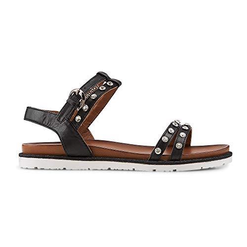 DRIEVHOLT Damen Sommer-Sandalen aus Leder, Riemchen-Sandaletten in Schwarz mit funkelnden Schmucksteinchen Schwarz Glattleder 38