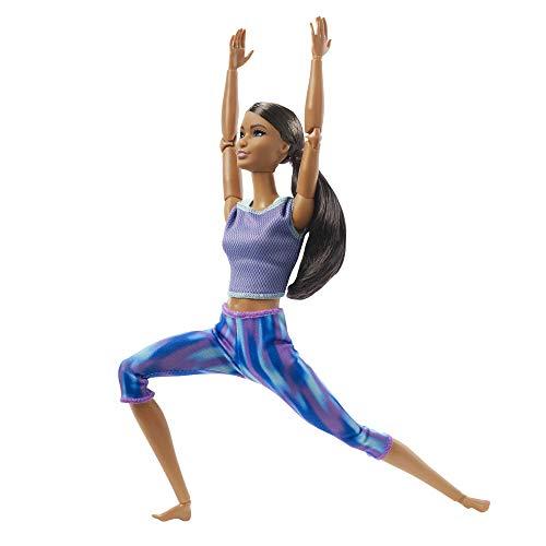 Barbie GXF06 - Made to Move Puppe mit dunkle braunem Haar, bewegliche und sportliche Modepuppe mit 22 Gelenken, ab 3 Jahren