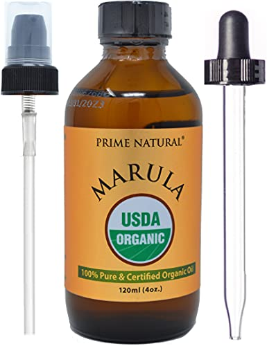 Organic Marula Oil 4oz/120ml - USDA Certified - Cold Pressed , Unrefined , Virgin - 100% Pure, Natural, Vegan, Best for Face, Body , Hair , Nails , Skin Care