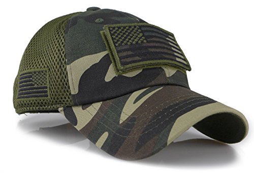 The Sox Market Camouflage Constructed Trucker Special Tactical Operator Forces USA Flag Patch Baseball Cap (Woodland)