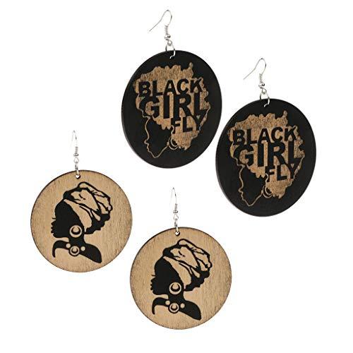 Bonarty 2 pares/conjunto de brincos femininos estilo étnico africano estampado preto menina mosca