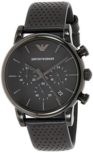 Emporio Armani Herren Chronograph Quarz Uhr mit Leder Armband AR1737