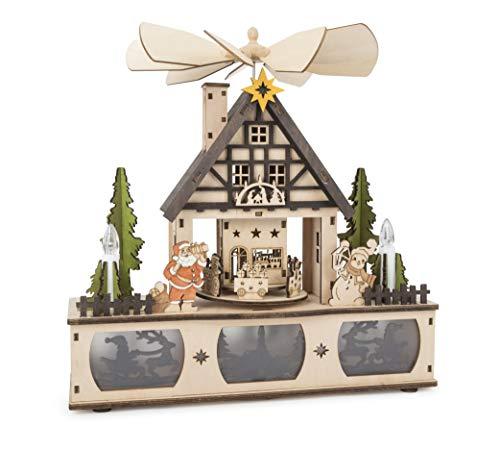 Small Foot Lampe mit Weihnachtspyramide aus feinem Holz, Weihnachtsdeko mit indirekter LED-Beleuchtung, Weihnachtskerzen und elektrischem Karussell Dekoartikel, natur
