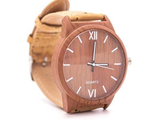 The Eco Owl Correa de reloj de corcho natural con color marrón claro, esfera de reloj unisex WA-117