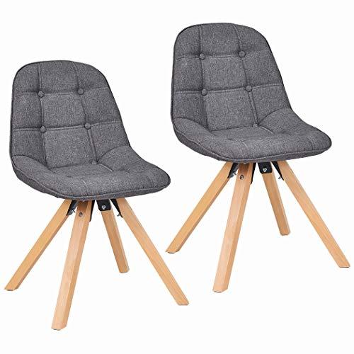 2er Set Esszimmerstuhl aus Kunstleder Farbauswahl Retro Design Stuhl mit Rückenlehne Holzbeine WY-466, Farbe:Dunkelgrau, Material:Stoff