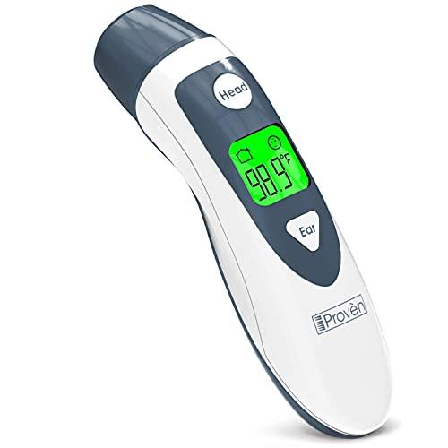 Termómetro de bebé para fiebre, función de oído y frente, termómetro de oído para niños, termómetro digital médico, termómetro timpánico - termómetro infantil - iProven DMT489 tapa gris, Gris 🔥