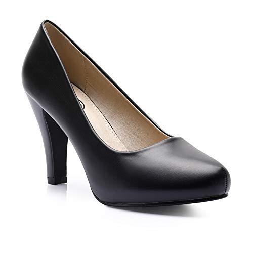 Trary Women's High Heel Dress Platform Pump Shoes Black PU 09