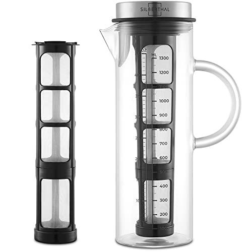 SILBERTHAL Cold Brew ekspres do kawy - szkło i stal nierdzewna - długa wkładka do mrożonej kawy i herbaty - 1,3 l