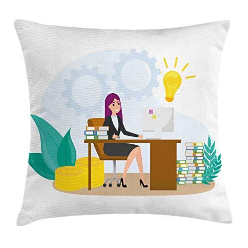 ABAKUHAUS Girl Boss Sierkussensloop, Vrouw zit aan de balie, Decoratieve Vierkante Hoes voor Accent Kussen, 40 cm x 40 cm, Veelkleurig