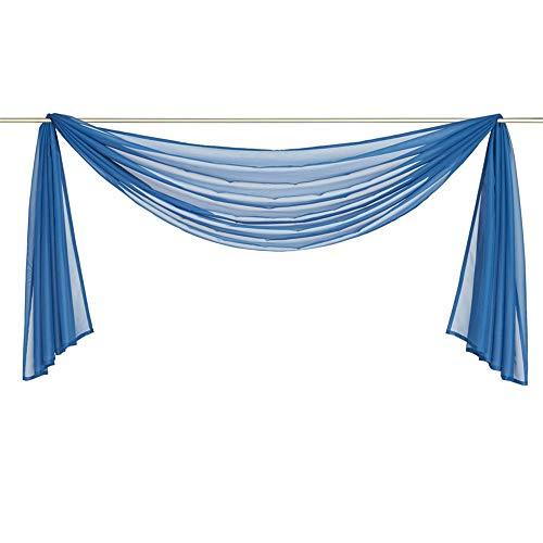 Nicole Knupfer 1er-Pack Querbehang Transparente Voile Schals Deko Einfarbige Gardinen Dekoschals Vorhang für Schlafzimmer Wohnzimmer Hochzeit (TV blau,140 * 300cm)