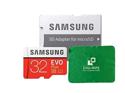 Carte mémoire Micro SD Evo Plus pour téléphone Portable Samsung Galaxy J1, J2, J3, J5 et J7 – Chiffon de Nettoyage en Microfibre Inclus 32 Go