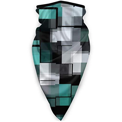MJDIY Windproof Face Warmer,Trendy Teal Groen Blauw Zwart Wit Abstract Plaid hoofddeksel 16-in-1 lichte gezichtsbescherming voor klimmen Wandelen Camping