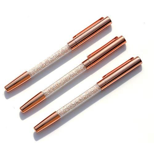 Rose Gold Pens, Gel Ink Roller Ball Pens Fine Point Black Ink Pens Rose Gold Office Supplies with 3 Extra Refills - 3 Pack (Gel Pen)