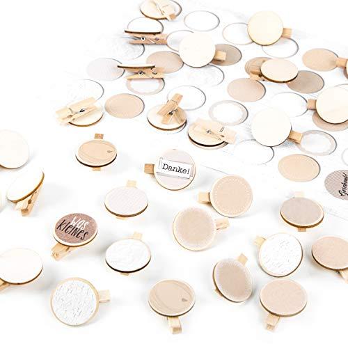 Logbuch-Verlag 24 kleine houten wasknijpers, houtschijf 3,2 cm diameter + 30 blanco beige natuur stickers - om te knutselen als naambord adventskalender 30 Stück