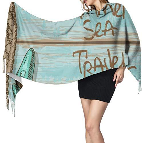 LiBei Weiche Frauen Schal Kaschmir-Ähnliche Schals Starfish Decor,Sommer Sea Travel Retro Boards Schiff Deck Seil Jakobsmuscheln Dame Herbst Schals Wraps Winter Femal Hijab