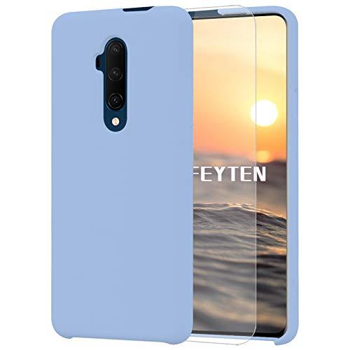 Feyten Coque Compatible avec OnePlus 7T Pro [avec Verre Trempé], Silicone Liquide Housse Case Anti-Choc Anti-Rayures Protection Complète Cover Étui avec Tissu Microfibre Coussin Coveri (Bleu Clair)