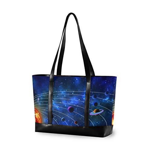 XiangHeFu Outdoor-Einkaufstasche Mode Casual Handtasche Große Kapazität Computeruniversum Galaxy Planeten Sterne Blau