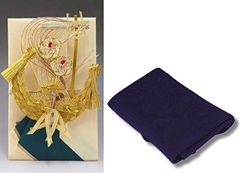 結納金だけの結納品(金封・祝儀袋)【宝船】(結納返し用)袋のみ・正絹ちりめん風呂敷68cm(紫)付き