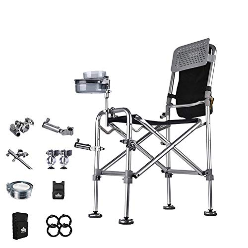 JDH Multifunction Fishing Chairs, Aluminum alloy All terrain Folding Liftable Portable Wild fishing Seat, with Carry Backpack Fishing Accessories