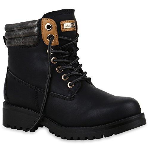 Damen Stiefeletten Worker Boots Warm Gefütterte Outdoor Schuhe 153727 Schwarz Cabanas 36 Flandell