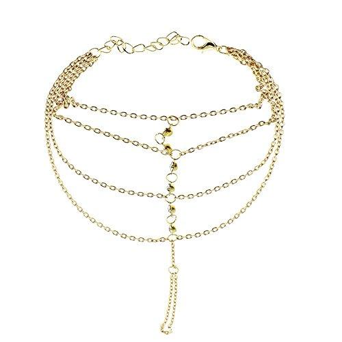 ARMAC Pulsera de temperamento con borla multicapa con diamantes y tachuelas de una cadena