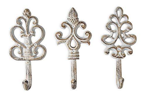 Shabby Chic decorativo de hierro fundido ganchos de pared-rústico-envejecido-francés país encanto-gran decorativo para colgar ganchos-Juego de 3-Tornillos y anclajes para montaje incluido