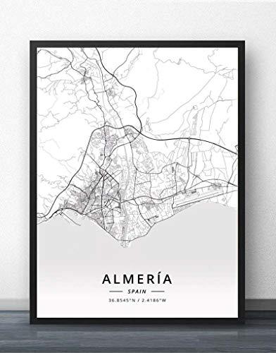 Cuadro Sobre Lienzo,España Almería Mapa De La Ciudad Imágenes De Pared En Blanco Y Negro Impresiones Carteles Murales Pinturas Arte Rectángulo Obra De Arte Pop Para La Decoración Del Hogar De La